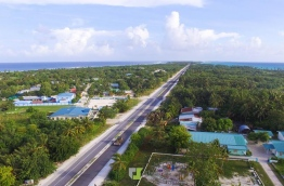 Aerial view of Laamu Link Road, the causeway that connects the islands of Fonadhoo, Kahdhoo, Maandhoo, Mukurimagu and Gan in Laamu Atoll.