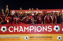 Maldivian players and officials celebrate after winning the SAFF Championship, Saturday, June. 14, 2008  (Archived  Photo/ Hussain Sinan).