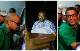 L-R: MMPRC's former Managing Director Abdulla Ziyath, former Vice President Ahmed Adeeb, and businessman Hamid Ismail - all three have been convicted over the infamous MMPRC corruption scandal. PHOTO/MIHAARU