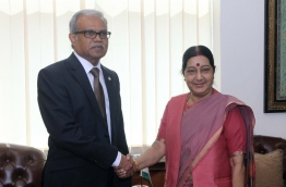 Foreign minister Dr Mohamed Asim and Indian External Affairs Minister Sushma Swaraj