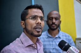 MP Alhan Fahmy speaking to the media. PHOTO: NISHAN ALI/ MIHAARU