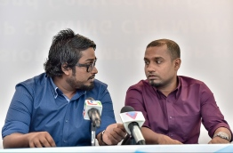 Bassam Adeel Jalee and Hussain Javaaz during a Football Association of Maldives (FAM) press conference. PHOTO: NISHAN ALI/MIHAARU