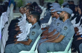 Officers of Maldives Correctional Service participating in a ceremony in Maafushi Prison. PHOTO: NISHAN ALI/ MIHAARU