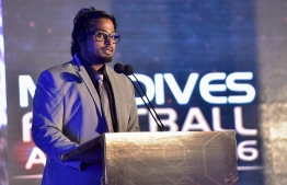 Football Association of Maldives (FAM)'s President Bassam Adeel Jaleel speaks at the Maldives Football Awards 2016. PHOTO: NISHAN ALI/MIHAARU