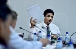 Ruling Progressive Party of Maldives (PPM) parliamentary group leader and Villimale MP Ahmed Nihan at a parliamentary committee meeting.
