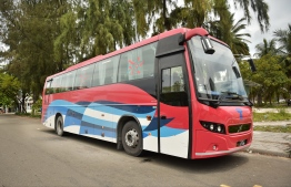 An MTCC bus, which provides public transport in Hulhumale'. FILE PHOTO: HUSSAIN WAHEED / MIHAARU