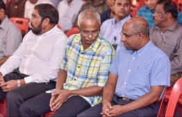 Ibrahim Mohamed Solih and MP Abdulla Shahid (R) attending a joint opposition gathering. PHOTO/ NISHAN ALI