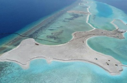 Aerial view of ongoing land reclamation at Emboodhoo Lagoon. FILE PHOTO/MIHAARU