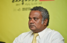 Maldivian Democratic Party (MDP) deputy chairperson Ali Niyaz during a press conference.