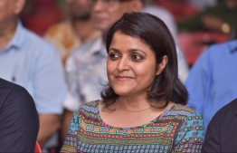 Yumna Maumoon attending an opposition gathering. PHOTO/NISHAN ALI
