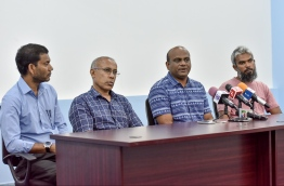 Volleyball Association of Maldives (VAM) during a press conference. President of VAM Mohamed Latheef (3R) is seen on the panel. PHOTO: NISHAN ALI / MIHAARU