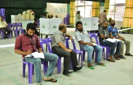 Electoral monitors at a polling station in the capital Male during the Local Council Election held May, 2017. PHOTO: MIHAARU