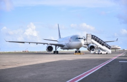 A parked airplane of Qatar Airways at Velana International Airport. FILE PHOTO/MIHAARU