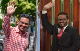 Former Minister of Defence Mohamed Nazim (L) and former Vice President Ahmed Adeeb. IMAGE/MIHAARU