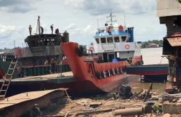A landing craft docked at the harbour. PHOTO: MIHAARU FILES