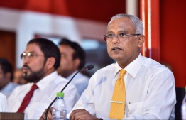 Ibrahim Mohamed Solih (Ibu) at a joint opposition press conference. PHOTO/ NISHAN ALI/ MIHAARU