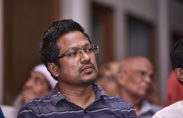 Maafannu North MP Imthiyaz Fahmy pictured during a joint opposition gathering. FILE PHOTO/MIHAARU