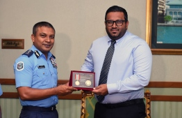 Former Vice President Ahmed Adheeb and former Police commissioner Hussain Waheed. PHOTO: PRESIDENT'S OFFICE