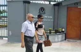Former President Maumoon Abdul Gayoom and his daughter Dhunya Maumoon pictured outside Maafushi Prison.