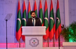 Home Minister Azleen Ahmed speaking at a function