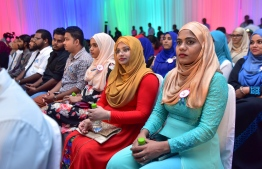 Young people attending the National Youth Day celebrations in 2017. PHOTO: HUSSAIN WAHEED/MIHAARU