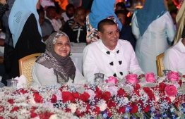 Former First Lady Fathimath Ibrahim (L) and Meedhoo MP Ahmed Siyam (R)