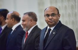 Former Chief Justice Abdulla Saeed (R). PHOTO: HUSSAIN WAHEED / MIHAARU