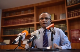 Former AG Husnu Al Suood speaks at a press conference. PHOTO: NISHAN ALI/MIHAARU
