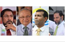 Leaders of the joint opposition (L-R): Jumhoory Party leader Qasim Ibrahim, former President Maumoon Abdul Gayoom, former President Mohamed Nasheed, Adhaalath Party leader Sheikh Imran - out of three, Qasim, Nasheed and Imran have been convicted of various offences, while Maumoon is currently detained under terrorism and bribery charges. PHOTO/MIHAARU