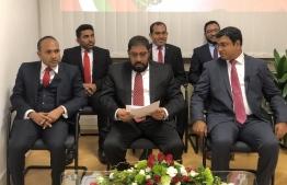 Senior members of Jumhooree Party, including deputy leader Ameen Ibrahim, and leader Qasim Ibrahim.