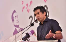 Former Economic Minister Mohamed Saeed speaks at a PPM gathering. FILE PHOTO: HUSSAIN WAHEED/MIHAARU