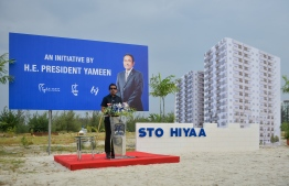 Former Minister of Economic Development, Mohamed Saeed, speaks at the launching of STO-funded housing blocks in Hulhumale Phase 2, under the 'Hiyaa' Project. PHOTO: HUSSAIN WAHEED / MIHAARU