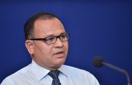 Defence Minister Adam Shareef speaks at the joint press conference held by MNDF and National Counter Terrorism Centre. PHOTO/MIHAARU