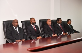 Judges pictured during an appointment ceremony. PHOTO: HUSSAIN WAHEED/MIHAARU