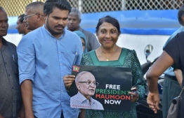 Naseera campaigning for former President Maumoon's release. PHOTO: MIHAARU