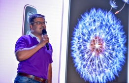 Ooredhoo Chief Executive Director speaking at the launch ceremony of SAMSUNG S9. PHOTO: NISHAN ALI/ MIHAARU