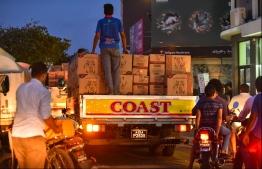 Pick-ups transport goods in Male City. PHOTO: HUSSAIN WAHEED/MIHAARU