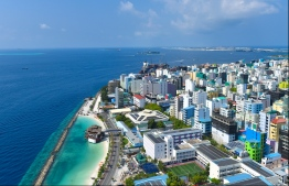 MALE: View of Male City's western coast from the rooftop of Dharumavantha Hospital. PHOTO: HUSSAIN WAHEED/MIHAARU
