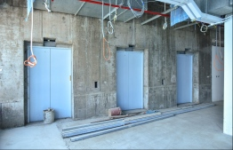 MALE: The elevators under development at Dharumavantha School. PHOTO: HUSSAIN WAHEED/MIHAARU