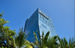 MALE: Dharumavantha Hospital, the new 25-storey state hospital being developed in Male City. PHOTO: HUSSAIN WAHEED/MIHAARU
