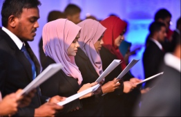 Lawyers during their oath taking ceremony. PHOTO: HUSSAIN WAHEED/MIHAARU