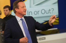 A handout picture released by Sky News shows British Prime Minister David Cameron speaking with members of the audience during a televised event in London on June 2, 2016.