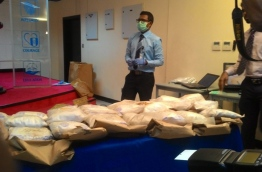 The drugs that were seized from a vessel near Alif Dhaal Atoll. The 29kg heroin haul is worth MVR145 million. PHOTO/MIHAARU