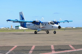 Maldivian seaplane pictured at the airport. MIHAARU FILE PHOTO