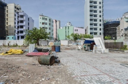 Construction of a new hotel building at the site where Nasandhura Palace Hotel stood. MIHAARU PHOTO
