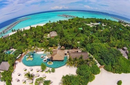 An aerial view of Six Senses resort in Laamu Atoll.