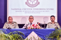 Defence Minister Adam Shareef (C) pictured during the press conference held by the national counter terrorism centre on Thursday. MIHAARU PHOTO/NISHAN ALI