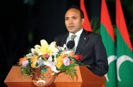 A file photo showing the former vice president Dr Mohamed Jameel Ahmed during an official ceremony. Jameel had fled to the UK last July days before he was impeached in a controversial vote.