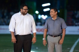 President Yameen (R) pictured with his then deputy Ahmed Adheeb during a ceremony. PHOTO/VNEWS