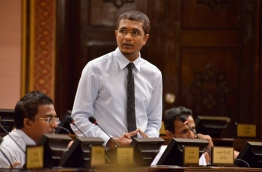 Villi-Maafannu MP Ahmed Nihan speaks during the parliament sitting on Monday. PHOTO/PARLIAMENT SECRETARIAT